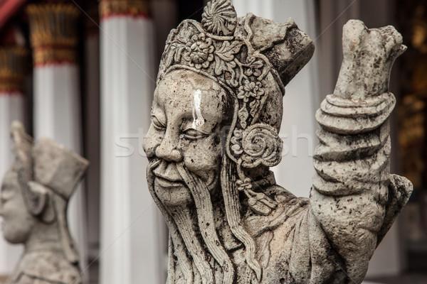 Chińczyk kamień posąg człowiek twarz projektu Zdjęcia stock © romitasromala