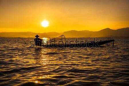Jezioro rybaka ludzi turystycznych cel Myanmar Zdjęcia stock © romitasromala