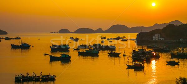морем закат Вьетнам кошки острове порта Сток-фото © romitasromala