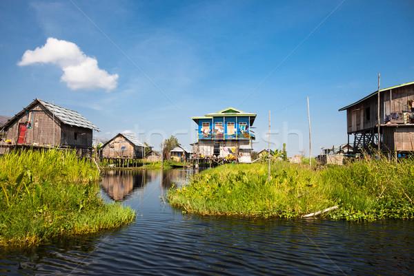 W. jezioro domów ogrody jeden Zdjęcia stock © romitasromala