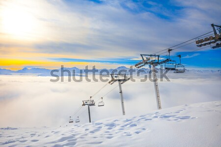 Wygaśnięcia panorama francuski alpy dramatyczny chmury Zdjęcia stock © romitasromala
