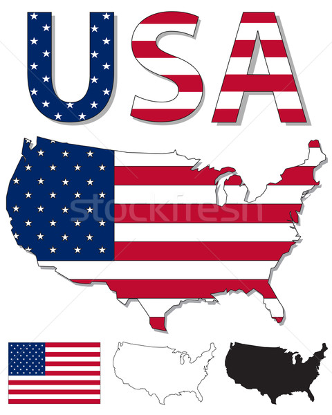 USA map and flag Stock photo © ronfromyork