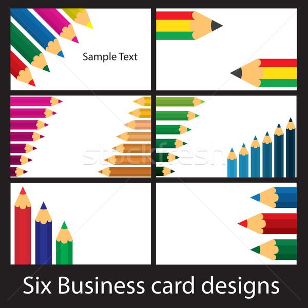 карандашом шесть визитной карточкой бумаги моде Сток-фото © ronfromyork