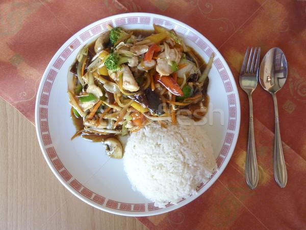 китайский еды заманчивый вилка ложку таблице Сток-фото © ronfromyork
