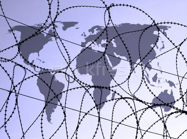 Dünya çapında güvenlik harita dünya ustura Stok fotoğraf © ronfromyork