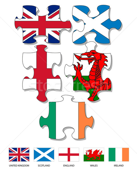 UK and Ireland country flag jigsaw pieces Stock photo © ronfromyork