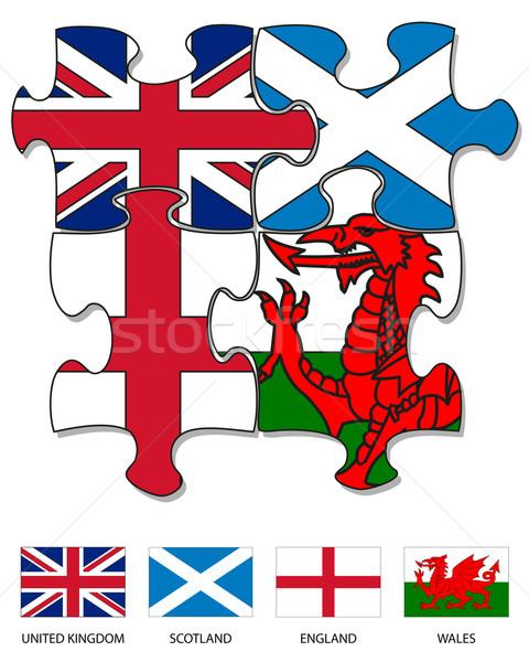 ülke bayrak dört parçalar İngilizce Stok fotoğraf © ronfromyork