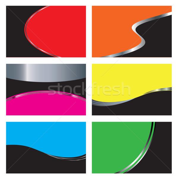 Coloré six carte de visite dessins papier Photo stock © ronfromyork