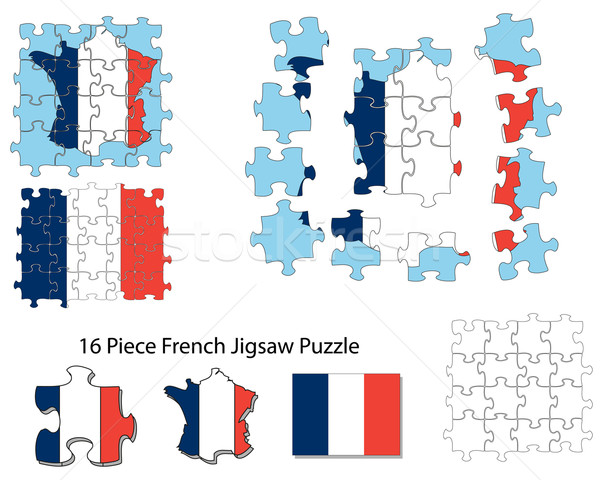French flag and jigsaw puzzle Stock photo © ronfromyork