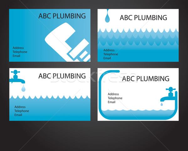 четыре сантехники карт визитной карточкой Сантехники Сток-фото © ronfromyork