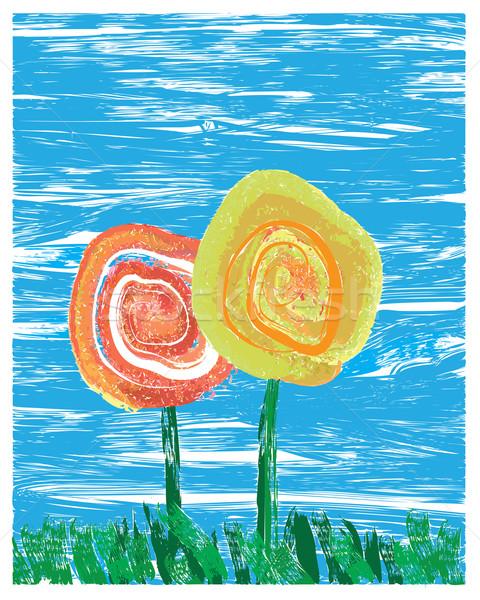 çiçekler stil boyama iki çim soyut Stok fotoğraf © ronfromyork