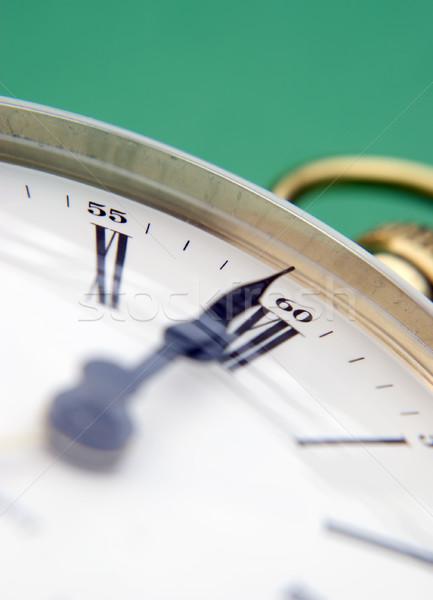 латунь часы зеленый фон Сток-фото © ronfromyork