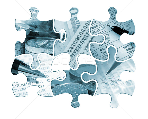 Six financial jigsaw pieces Stock photo © ronfromyork