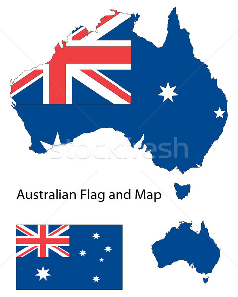 австралийский карта флаг форма Австралия Сток-фото © ronfromyork