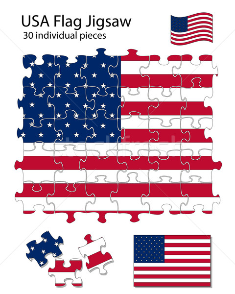 USA flag jigsaw Stock photo © ronfromyork