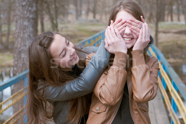 Boldog tini barátok park kettő tini Stock fotó © rosipro
