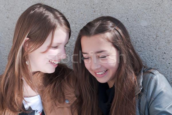 Kettő boldog tini barátok viccelődés női Stock fotó © rosipro