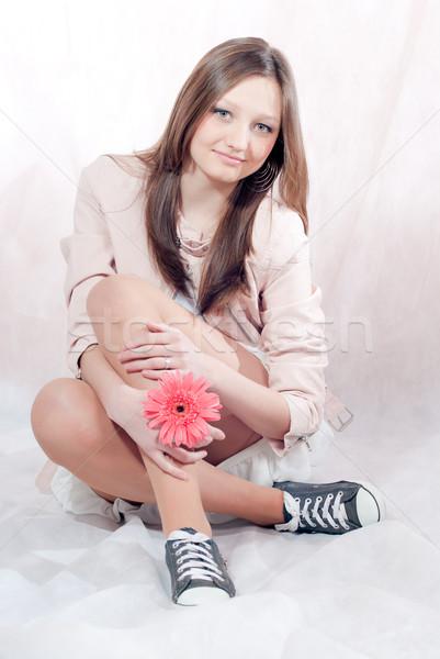 Belo elegante estúdio retrato mulher Foto stock © rosipro