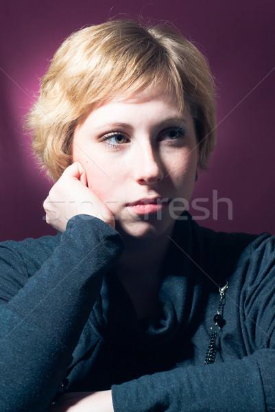 Fiatal nő néz szomorú stúdió portré gesztenyebarna Stock fotó © rosipro