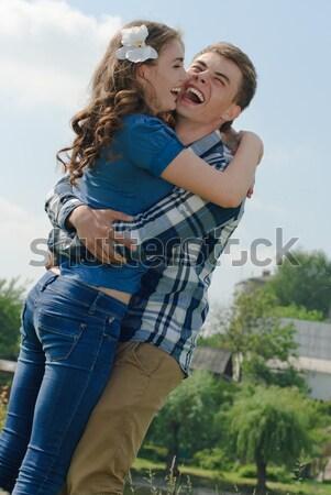 Fiatalember két nő csók boldog háttér csók Stock fotó © rosipro
