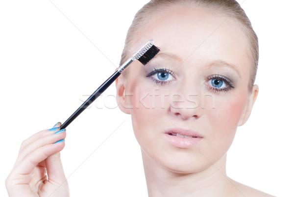 美しい 若い女性 眉毛 孤立した 白 顔 ストックフォト © rosipro
