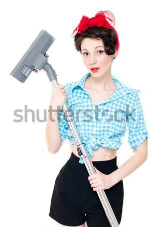 Pinup nő porszívó gyönyörű vicces tart Stock fotó © rosipro
