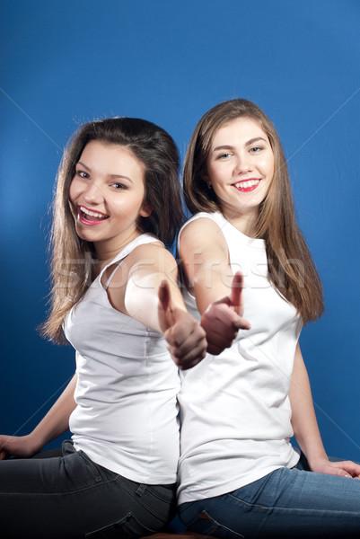Kettő fiatal boldog nők mutat remek Stock fotó © rosipro