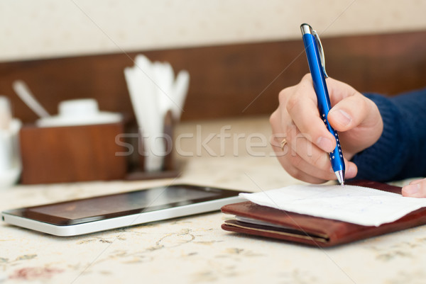 Empresário restaurante trabalhando dia espera Foto stock © rosipro