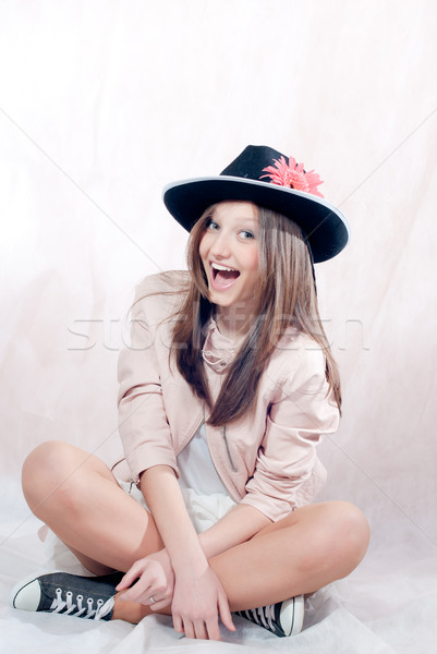 Belo elegante chapéu de cowboy risonho estúdio Foto stock © rosipro