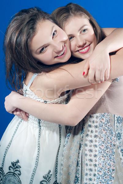 Dois feliz adolescente amigos feminino Foto stock © rosipro