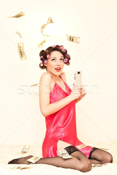 Sortudo dona de casa vitória loteria belo jovem Foto stock © rosipro