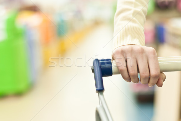 Woman and push cart Stock photo © rosipro