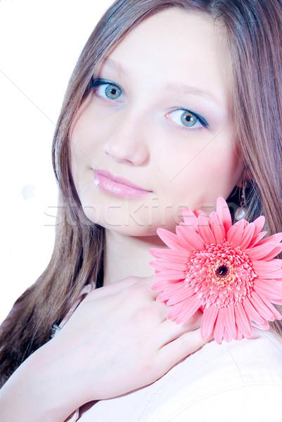 Belo mulher jovem rosa flor mulher Foto stock © rosipro