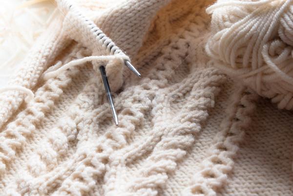 Suéter branco lã padrão céu Foto stock © rosipro