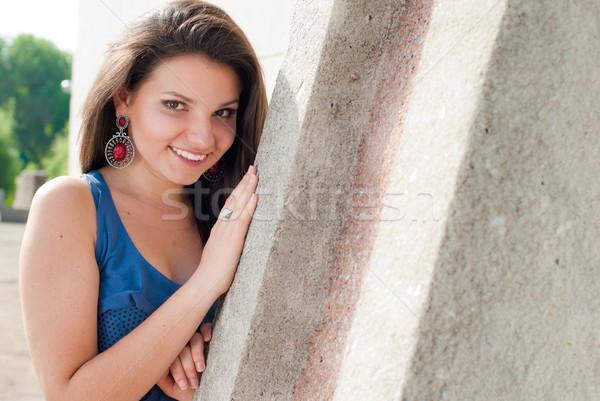 Foto stock: Belo · mulher · jovem · concreto · parede · rua · modelo