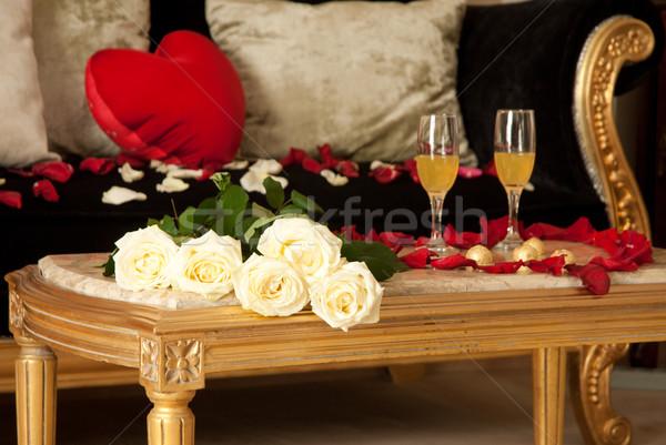 Foto stock: Quarto · de · hotel · preparado · celebração · valentine · dois