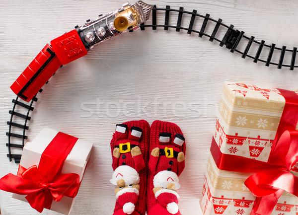 Christmas locomotief geschenken kerstman benen Stockfoto © RossHelen