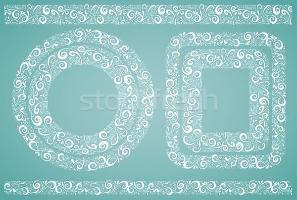 Keret szett vektor akta levél fekete Stock fotó © roverto