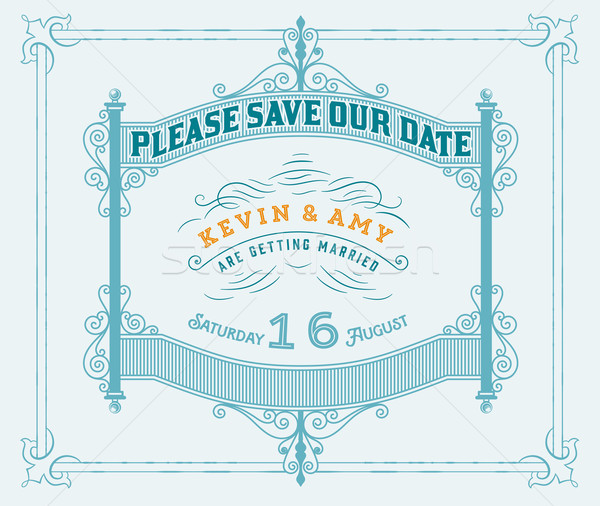 Vektör düğün davetiyesi bağbozumu kart Metal elemanları Stok fotoğraf © roverto