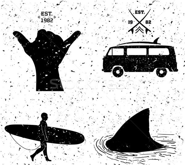 Szörfözik dizájnok grunge stílus szett vektor Stock fotó © roverto