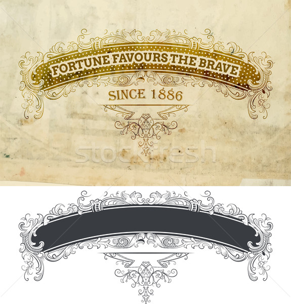 Vector.Banner with floral and old paper details Stock photo © roverto