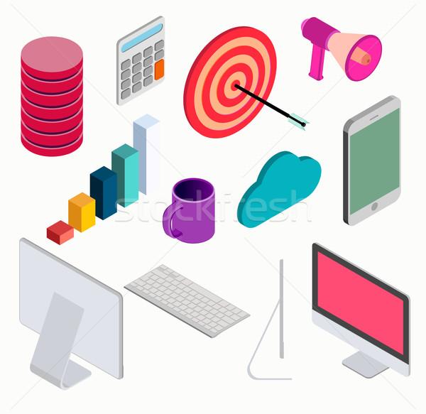 Business isometric elements set . vector Stock photo © roverto