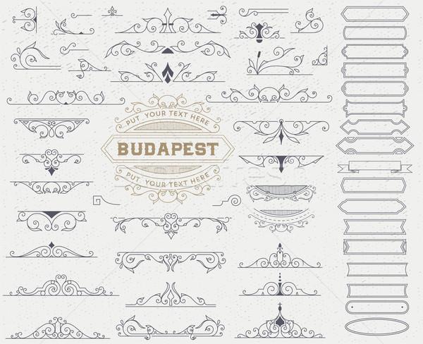 Készlet klasszikus elemek meghívók bannerek plakátok Stock fotó © roverto