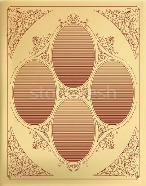 Organizado capas flores retro Foto stock © roverto