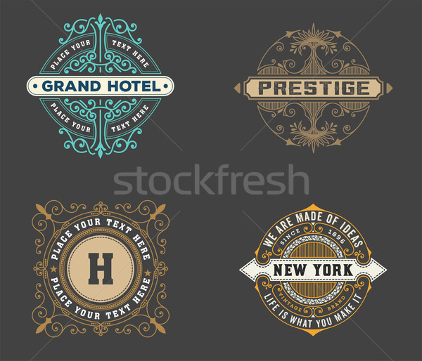 vintage logo template, Hotel, Restaurant, Business or Boutique Identity. Design with Flourishes Eleg Stock photo © roverto