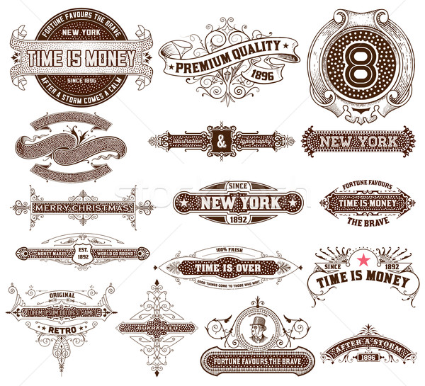 16 Labels and banners. Vector Stock photo © roverto