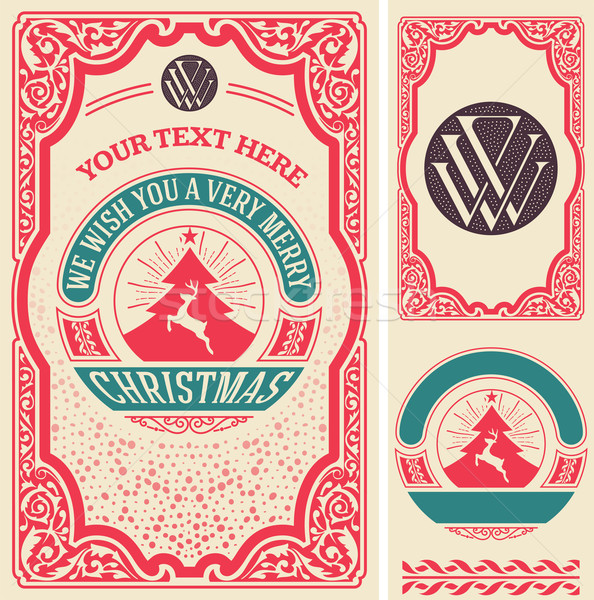 Christmas greeting card background. All elements by layers Stock photo © roverto