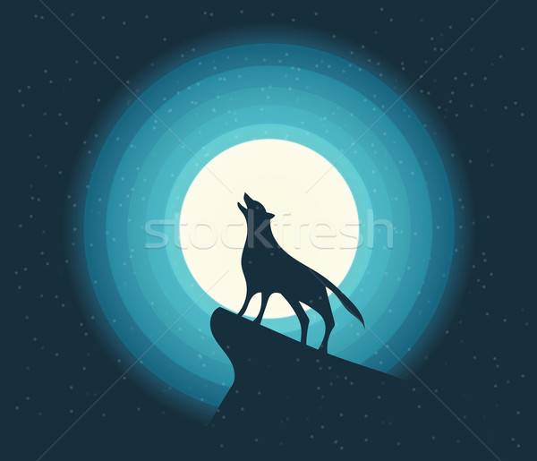 Vector. Wolf Howling in the Moonlight Stock photo © roverto