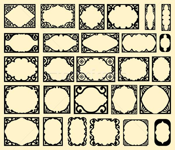 Szett fekete klasszikus keret terv elemek Stock fotó © roverto