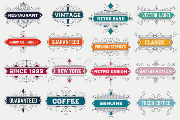 Vintage логотип шаблон отель ресторан бизнеса Сток-фото © roverto